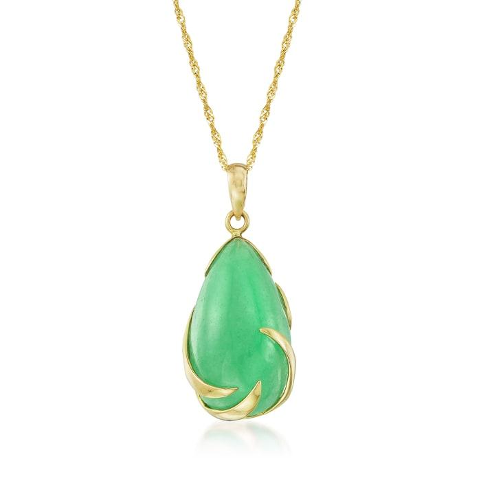 Jade Teardrop Pendant Necklace in 14kt Yellow Gold