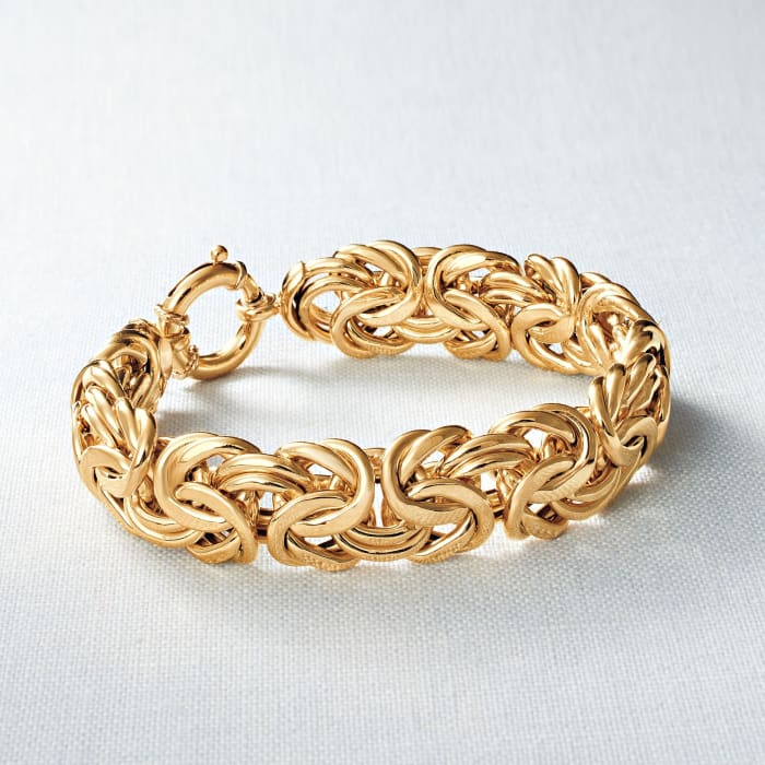Italian 18kt Yellow Gold Byzantine Bracelet