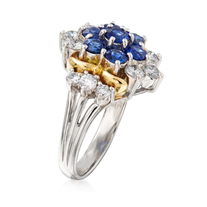 C. 1990 Vintage 1.70 ct. t.w. Sapphire and .88 ct. t.w. Diamond Cluster Ring in Platinum and 18kt Yellow Gold