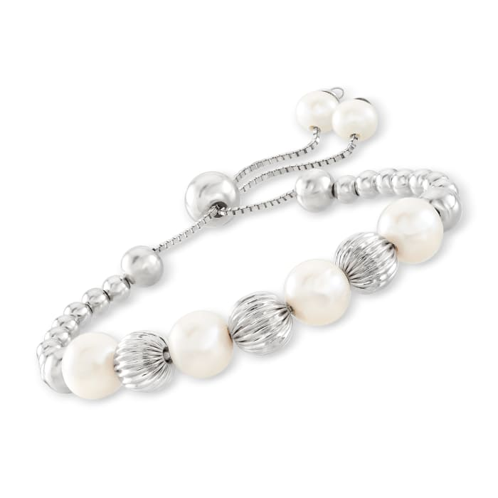 6-9mm Cultured Pearl and Sterling Silver Bead Bolo Bracelet