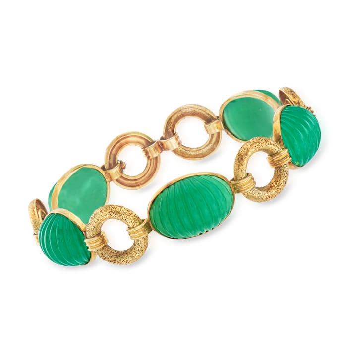 C. 1960 Vintage Green Chalcedony Bracelet in 14kt Yellow Gold