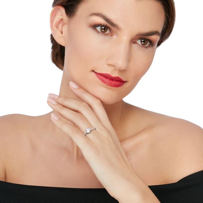 Henri Daussi .98 ct. t.w. Diamond Engagement Ring in 18kt White Gold