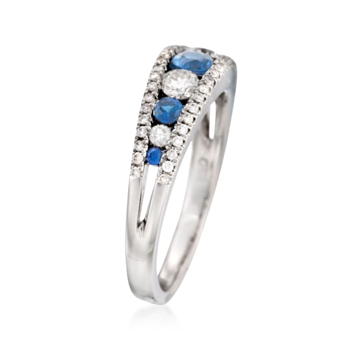 Gregg Ruth .38 ct. t.w. Sapphire and .46 ct. t.w. Diamond Ring in 18kt White Gold