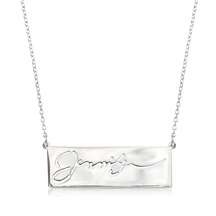 Sterling Silver Cutout Nameplate Necklace