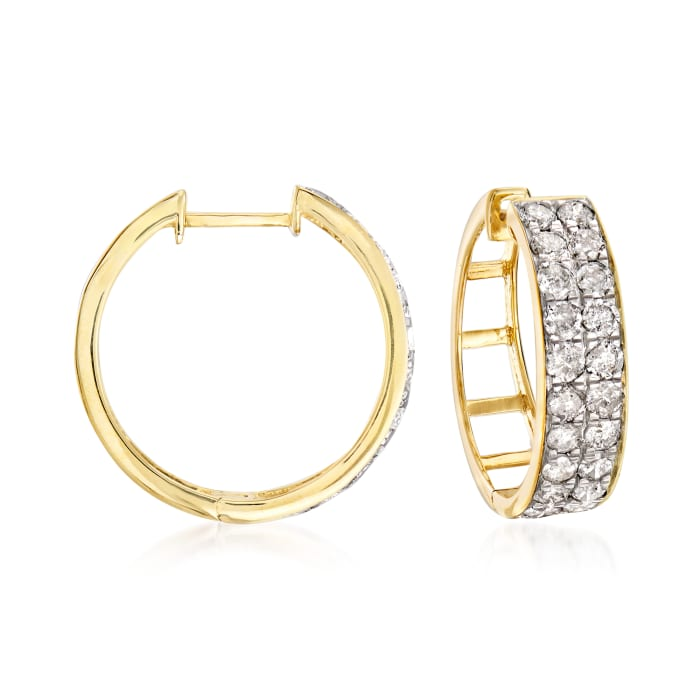 2.00 ct. t.w. Diamond Double-Row Hoop Earrings in 14kt Yellow Gold