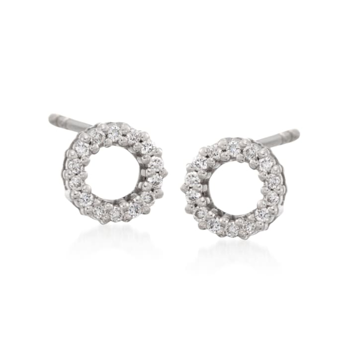 Roberto Coin .13 ct. t.w. Diamond Circle Earrings with Ruby in 18kt White Gold