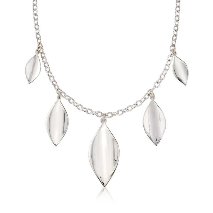 """Zina Sterling Silver Five """"Smooth Leaf"""" Drop Necklace"""