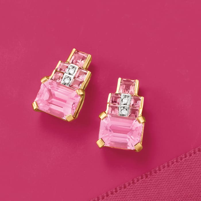 4.00 ct. t.w. Kunzite and .90 ct. t.w. Tourmaline Earrings in 14kt Yellow Gold