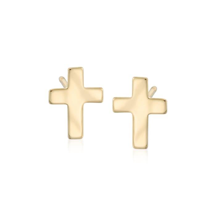 14kt Yellow Gold Cross Earrings