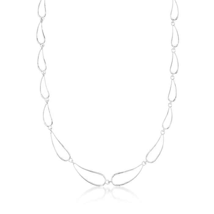 """Zina Sterling Silver """"Classic Zina"""" Scalloped Wire Teardrop Necklace"""