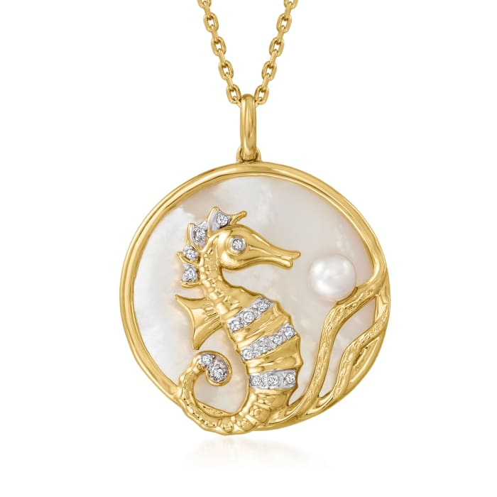 Mother-Of-Pearl and 5mm Cultured Pearl Seahorse Pendant Necklace with Diamond Accents in 18kt Gold Over Sterling