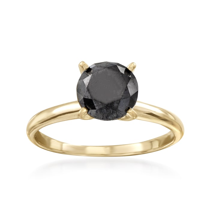 2.00 Carat Black Diamond Solitaire Ring in 14kt Yellow Gold