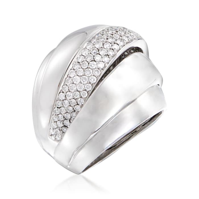 C. 1980 Vintage Bucherer 1.38 ct. t.w. Diamond Ring in 18kt White Gold