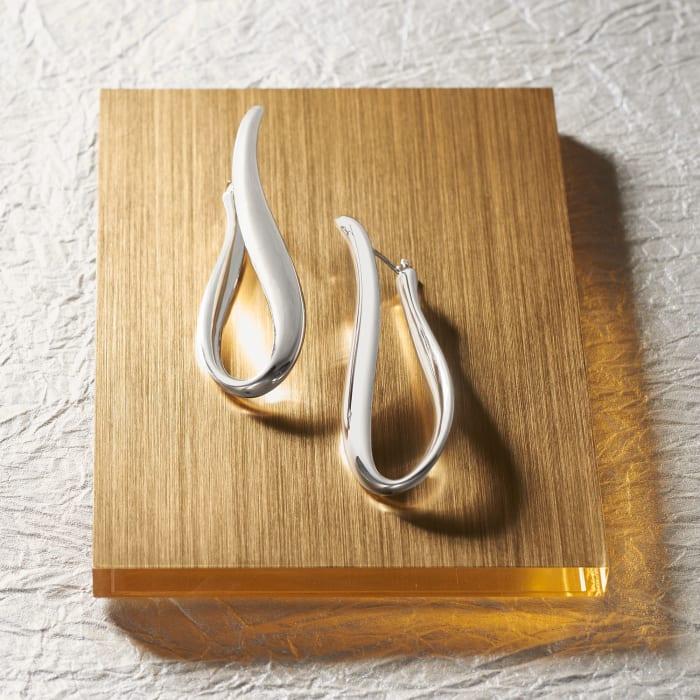 Italian Sterling Silver U-Shaped Hoop Earrings