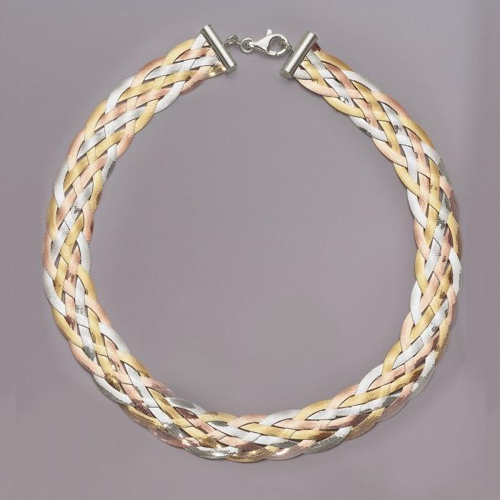 Italian Tri-Colored Sterling Silver Braided Herringbone Collar Necklace