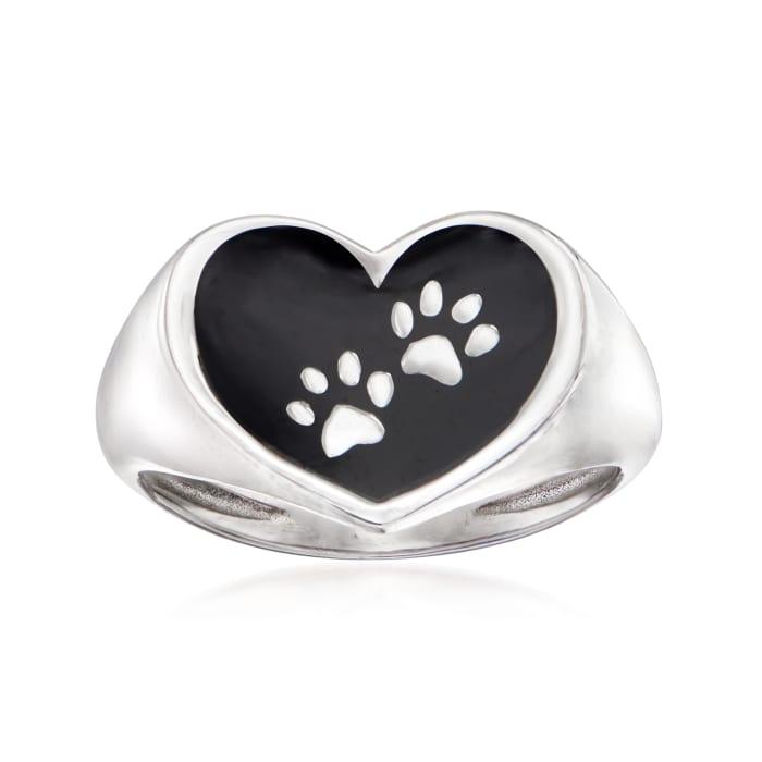 Italian Sterling Silver and Black Enamel Paw Print Heart Ring