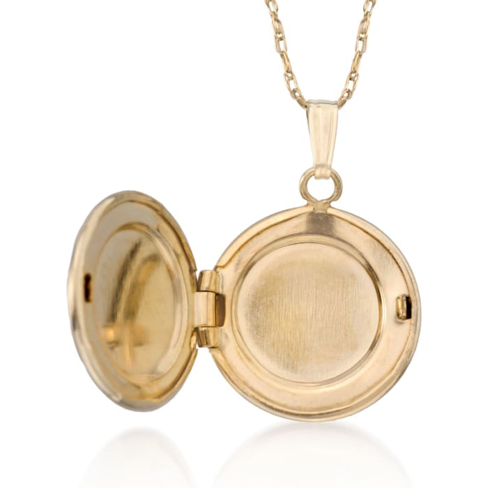 Child's 14kt Yellow Gold Floral Locket Necklace