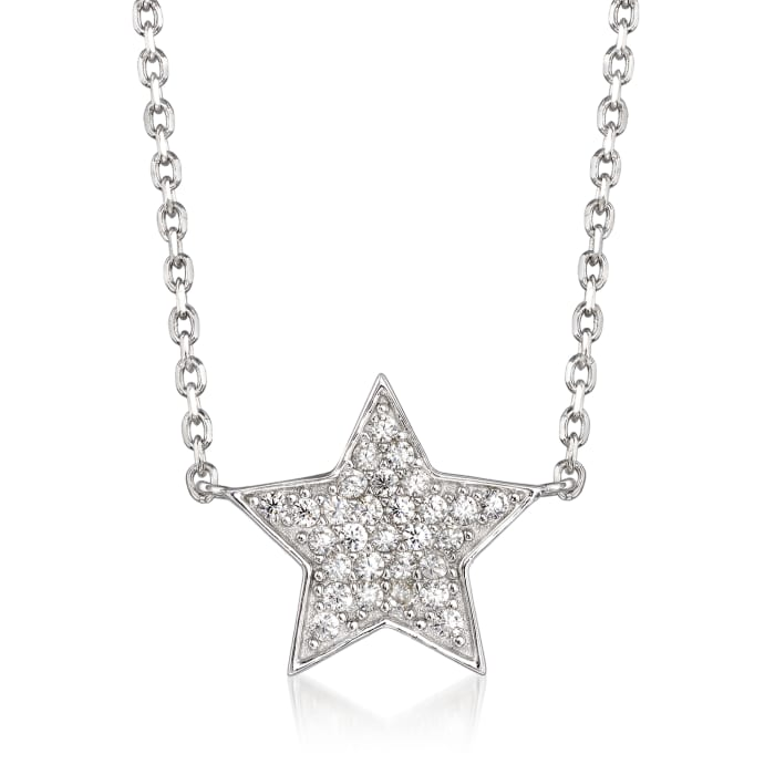 .20 ct. t.w. Pave CZ Star Necklace in Sterling Silver