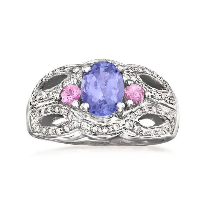 C. 1980 Vintage 1.30 Carat Tanzanite and .20 ct. t.w. Pink Tourmaline Ring with .35 ct. t.w. Diamonds in 14kt White Gold