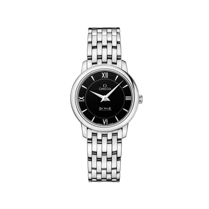 Omega De Ville Prestige Women's 27.4mm Stainless Steel Watch with Black Dial
