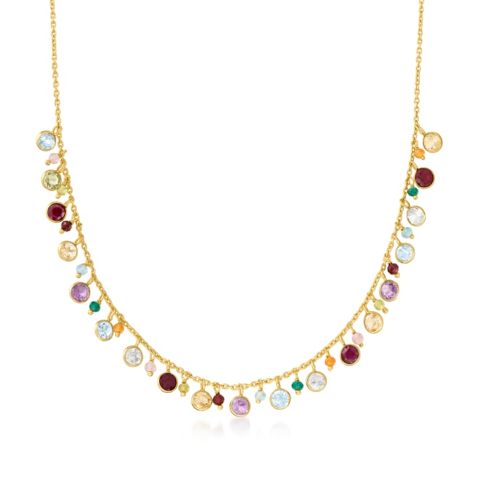 12.10 ct. t.w. Multi-Gemstone Necklace in 18kt Gold Over Sterling