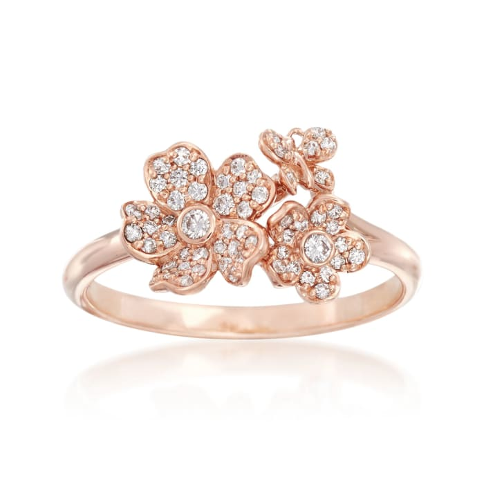 """Mikimoto """"Cherry Blossom"""" .23 ct. t.w. Diamond Floral Ring in 18kt Rose Gold"""