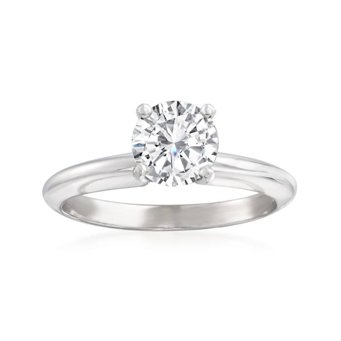 1.01 Carat Certified Diamond Solitaire Ring in 14kt White Gold