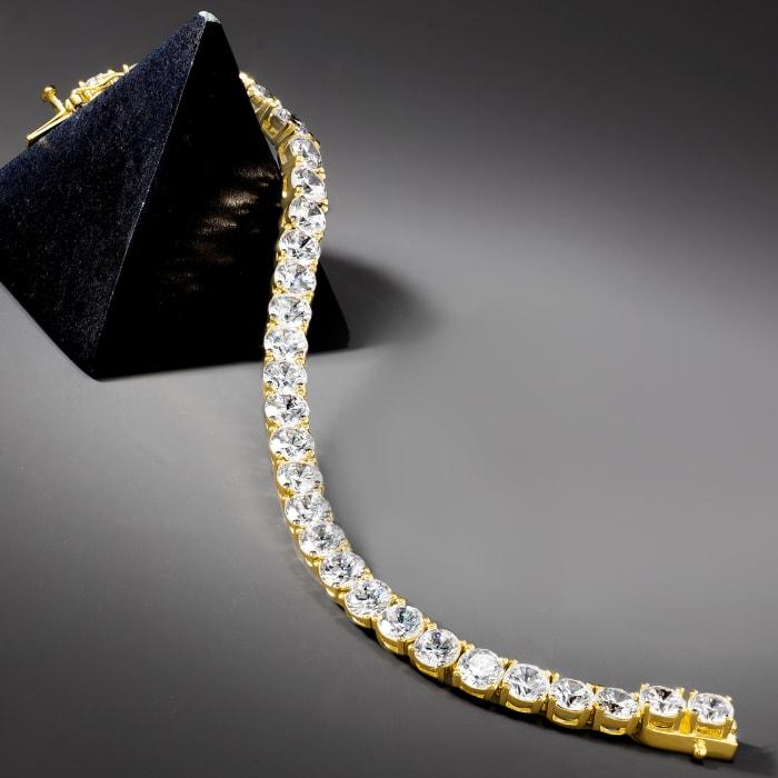 23.00 ct. t.w. CZ Tennis Bracelet in 18kt Gold Over Sterling