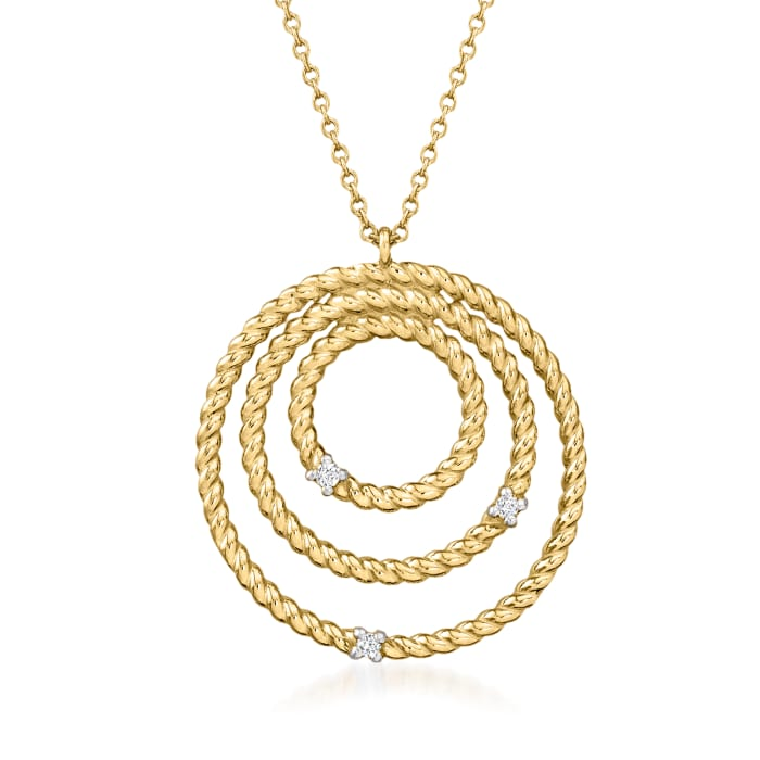 "Phillip Gavriel ""Italian Cable"" 14kt Yellow Gold  Multi-Circle Pendant Necklace with Diamond Accents"