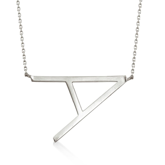 Sterling Silver Sideways Single Initial Necklace 18-inch  (A)