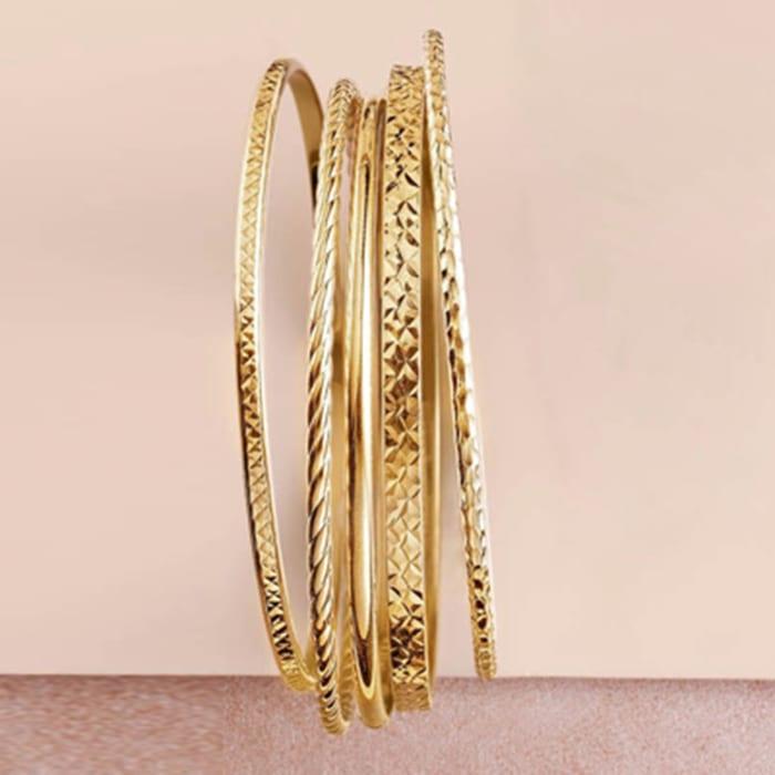 18kt Gold Over Sterling Jewelry Set: Five Textured Bangle Bracelets