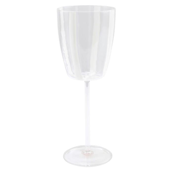 "Vietri ""Stripe White"" Wine Glass from Italy"