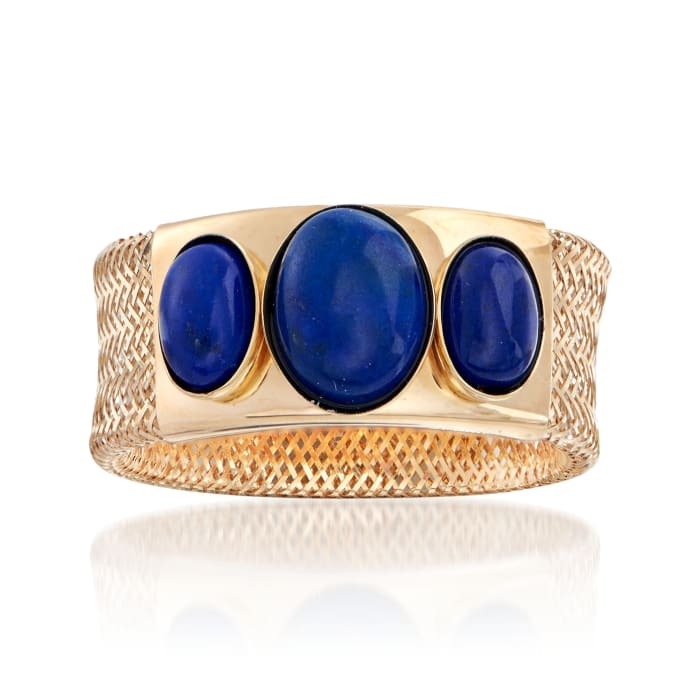 Italian Lapis Three-Stone Mesh Ring in 14kt Yellow Gold