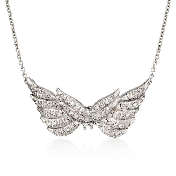 """Roberto Coin """"Tiny Treasures"""" .24 ct. t.w. Angel Wing Diamond Necklace in 18kt White Gold"""