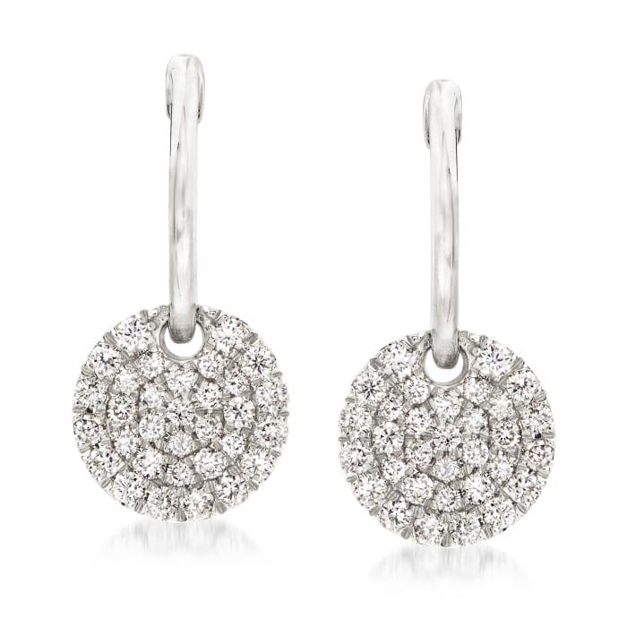 Gabriel Designs .48 ct. t.w. Diamond Disc Hoop Earrings in 14kt White Gold
