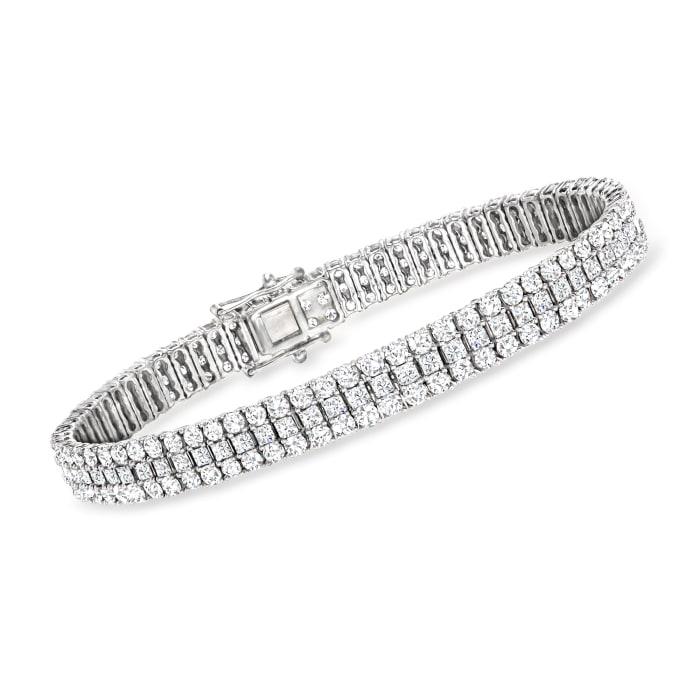 10.00 ct. t.w. Triple-Row Diamond Bracelet in 14kt White Gold