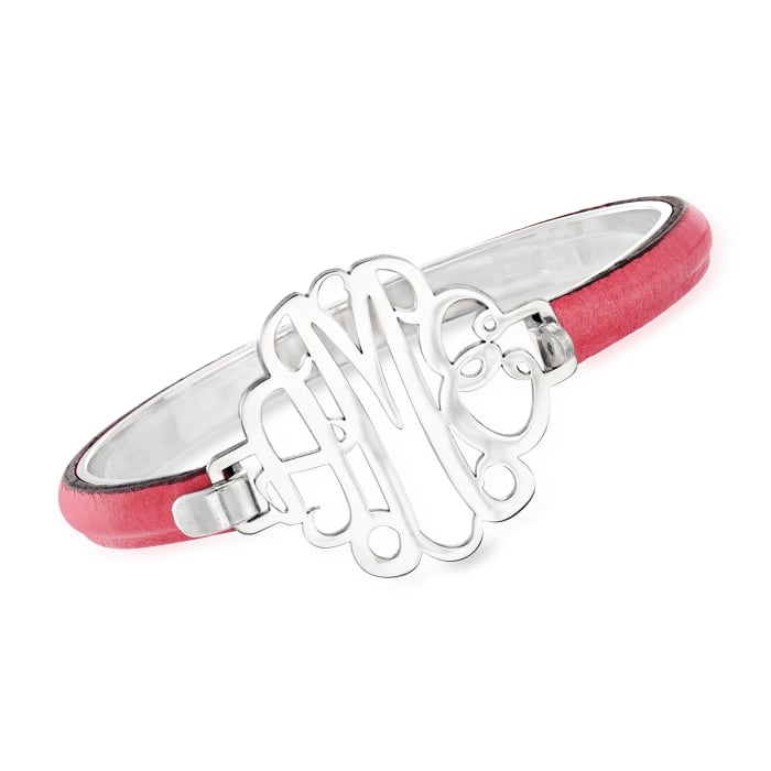 Sterling Silver Monogram Bracelet with Leather