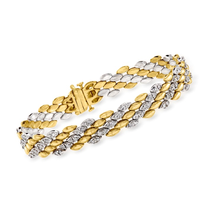 C. 1990 Vintage 2.00 ct. t.w. Diamond Link Bracelet in 14kt Two-Tone Gold