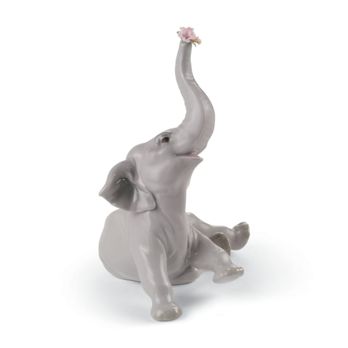 """Lladro """"Baby Elephant with Pink Flower"""" Porcelain Figurine"""