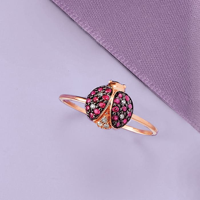 .30 ct. t.w. Ruby and Diamond-Accented Ladybug Ring in 14kt Rose Gold with Black Rhodium
