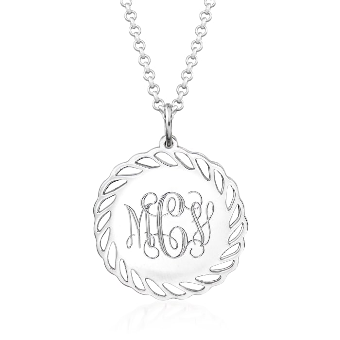 Personalized Monogram Sterling Silver Scalloped Pendant Necklace