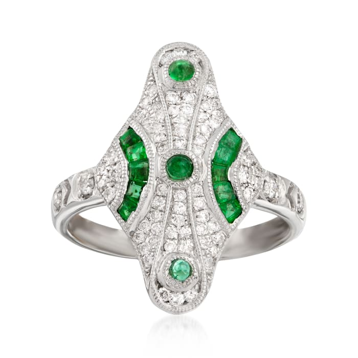 .35 ct. t.w. Diamond and .30 ct. t.w. Emerald Ring in 18kt White Gold