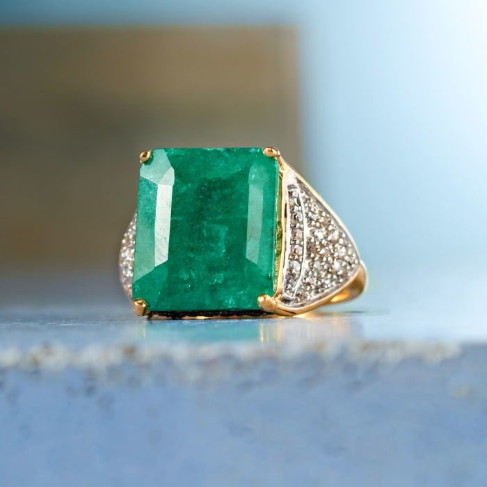8.00 Carat Emerald and .40 ct. t.w. White Topaz Ring in 14kt Gold Over Sterling