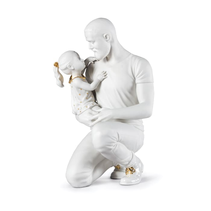"Lladro ""In Daddy's Arms"" Father and Child Porcelain Figurine"