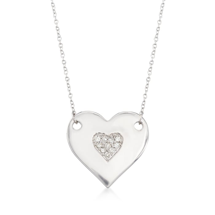 .10 ct. t.w. Diamond Heart Necklace in Sterling Silver