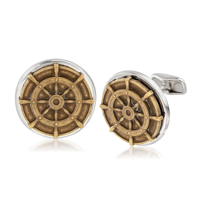 Men's Ship Wheel Coin Cuff Links in Sterling Silver
