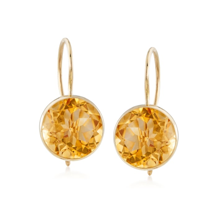 3.20 ct. t.w. Citrine Drop Earrings in 14kt Yellow Gold