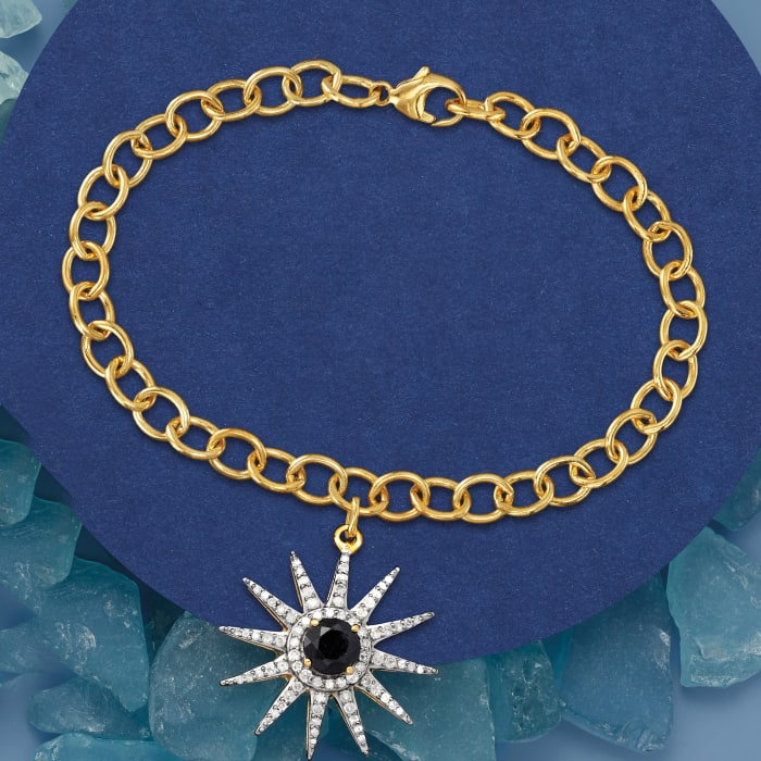 .70 Carat Sapphire and .50 ct. t.w. Diamond Sun Charm Link Bracelet in 18kt Gold Over Sterling