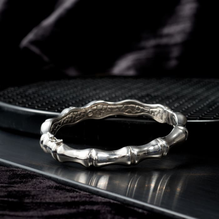 Italian Sterling Silver Bamboo Bangle Bracelet