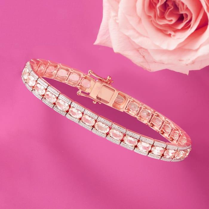 11.00 ct. t.w. Morganite Tennis Bracelet in 14kt Rose Gold Over Sterling